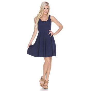 Crystal Fit/Flair Skater Dress Navy Blue Short Scoop Neck