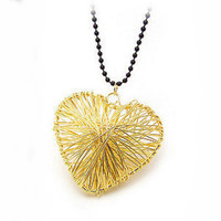 Golden Filament Hollow Out Love Necklace