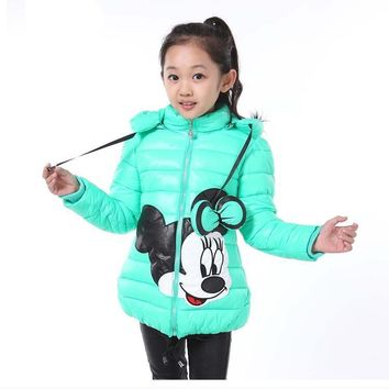 Trendy Minnie Winter Girls Jacket Snow Treasure Cartoon Coat Cotton-padded Clothes Children's Keeping Warm Hoodies Kids Clothing AT_94_13