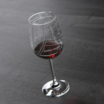 College Town Maps Stemmed Wine Glass