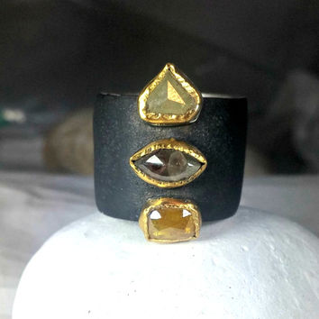 Rose cut diamond Ring, Statement ring,  diamond and 22 kt yellow gold ring , Silver, gold and Diamond ring
