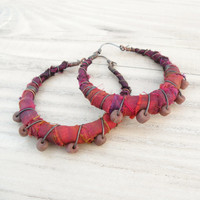 Gypsy Hoop Earrings, Large Silk Wrapped Eclectic Bohemian Copper Hoops in Sunset Orange and Purple