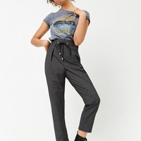 Grid Print Ankle Pants