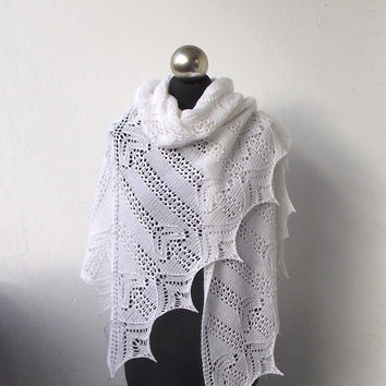 White hand knitted shawl , bridal cover up, wedding shawl, merino and cashmere white shawl, bridal shawl SUMMER SALE 15%OFF