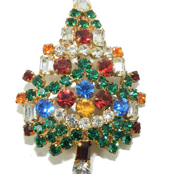 Vintage Austrian Glass Christmas Tree Brooch, Mid century Christmas Tree Jewelry Jewellery, Collectible Ladies Broche, Gift for Her