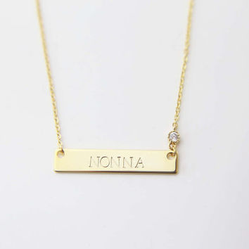 Holiday Christmas Personalized Gift for Her /Personalized Monogram and Name Necklace with CZ charm