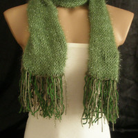Hand knitted green elegant scarf
