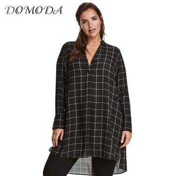 DOMODA Big Size New Fashion Women Clothing Casual Basic Dress V-Neck Long Sleeve Shirt Dress Plus Size Dress 4XL 5XL 6XL 7XL