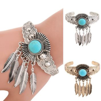 Women Girl Retro Jewelry Turquoise Leaf Open Cuff Bangle Charm Bracelet Indian Native American Jewelry Vintage Statement Bracele