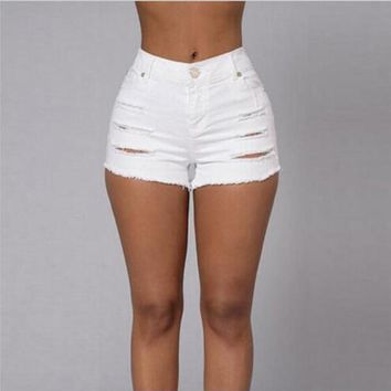 Echoine Sexy White Short Jeans Women Cool Summer Vintage Holes Shorts Vaqueros Mujer High Waist Denim Shorts Pencil Jean