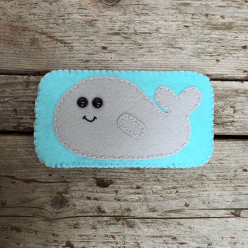 wool felt whale cell phone case - iphone 4, iphone 5, iphones 6, iphone 6 plus, android,  samsung galaxy s4 s5 s6