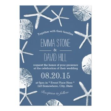 Rustic Navy Blue Beach Theme Wedding Invitations