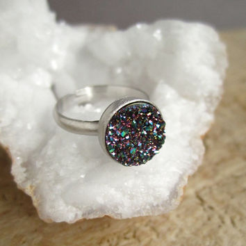 Peacock Druzy Ring Titanium Druzy Quartz Sterling Silver Adjustable Band