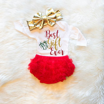 Baby Girl Christmas Outfit, My First Christmas Outfit, Best Gift Ever Onesuit® Baby Christmas Outfit, Christmas Onesuit®, Ruffle Bloomers, Bow