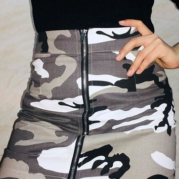 Grey Camouflage Zipper High Waisted Casual Mini Skirt