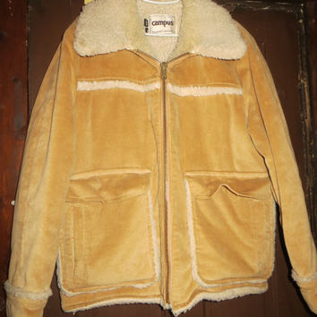 Vintage 1960's  golden Brown Corduroy Rancher Coat   Shearling    lined  sz 44  by Campus  rugged COUNTRY