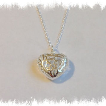 Sterling Silver Heart Necklace Wedding Bridesmaid Gift Women Jewelry