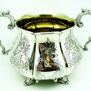 Solid Silver Sugar Bowl, Sterling, Large, Antique, English, Victorian, Bright Cut, Hallmarked London 1852, REF:254T