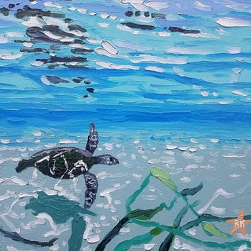 "Original Palette Knife Art, 12"" Oil Painting by Ryan Kimba, Impressionistic, Wall Art, Beach Life, Sea Turtle in Water"