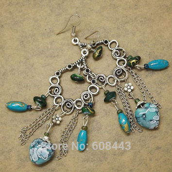 ER370 Antique Silver Bohemia colorful Vine Hollow Vintage Earrings For Women Lady 2015 New Jewelry Bijouterie