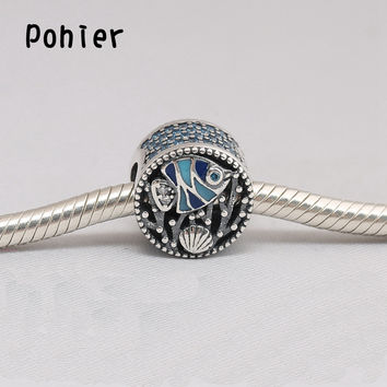 925 Sterling Silver Undersea World Fish&Shell Charms European Beads Fit Pandora Charms Bracelets