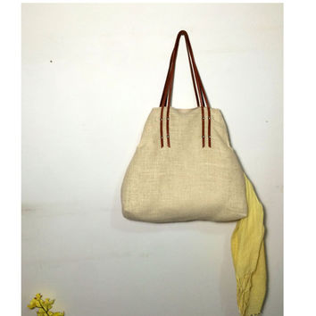 beach jute tote bag with leather shoulders, women tote bag with internal canvas, suitable as a shoulder bag and handbag, made in italy