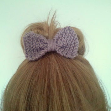 Knitted Bow Hair Tie - Dusty Mauve