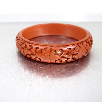 Antique Chinese Cinnabar Bangle. Hand Carved Floral Dark Red Cinnabar Bracelet. 1940s Chinese Export Jewelry.