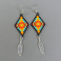 Colorful seed bead earrings - beaded jewelry, Native American inspired