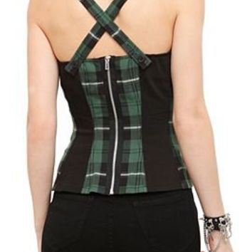 Royal Bones Green Plaid Corset Vest Top - 719300