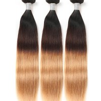 3 Tone Ombre Brazilian Straight Hair Weave Bundles Non Remy Human Hair