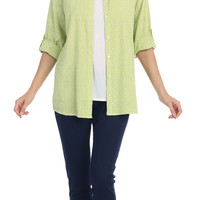 Cotton Voile Embroidery Roll Up Sleeve Shirt (C-737)
