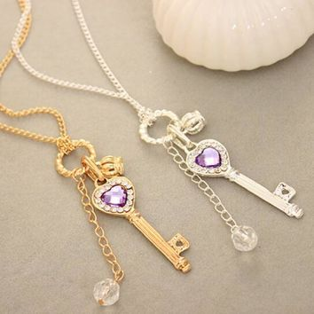 New Nature Stone love long crown restoring ancient Gold&Silver Color ways key necklace charm necklace gift With 2 Colors