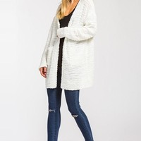 Cozy Cotton Blend Cardigan Sweater - Ivory