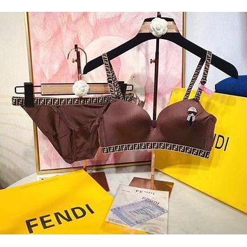 """FENDI"" Trending Luxury  Women Embroidery Two Piece Women Underwear Set Coffee"