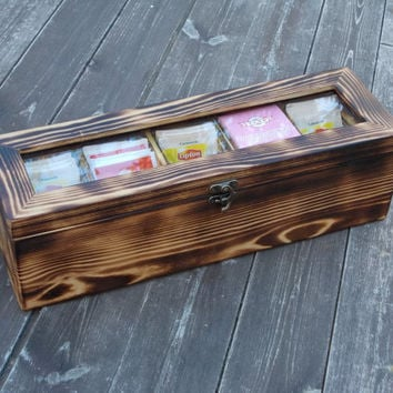 Distressed wood wooden tea box rustic tea box wood tea box tea bag box modern tea box shabby chic tea box storage vintage tea box