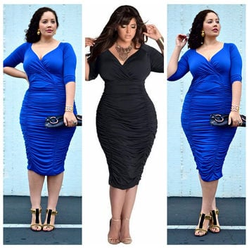 V-Neck Half Sleeve Ruched Bodycon Midi Dress