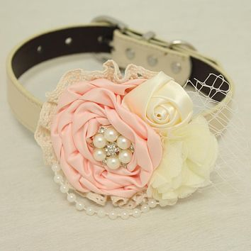 Blush Ivory pearl Rhinestone flower attach to Pink, Ivory, White, black, brown, Gray or Champagne leather collar, Blush flower collar