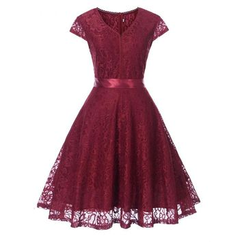 V-neck Lace Wine Red Short Bridesmaid Dresses Wedding Party Dress  Gown Women's Fashion Clothing