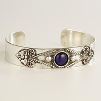 Silver Tribal Blue Beads Bracelet - World Market