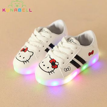 Children Srping Hello Kitty Lighted Shoes Baby Girls Striped LED Shoes Kids Casual Lov