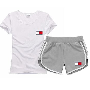 Trendsetter Tommy Hilfiger Women Men Casual Sport T-Shirt Top Tee Shorts Set Two-Piece