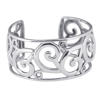 Sterling Silver Filigree Cuff Bracelet 25mm
