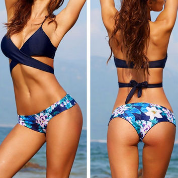 Blue Halter Wrap Back Tied Floral Bikini Set