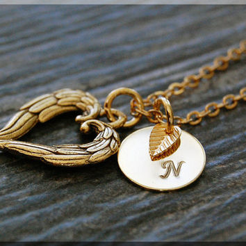 Gold Winged Heart Charm Necklace, Initial Charm Necklace, Personalized, Heart Pendant, Heart Jewelry, Monogram Love Necklace