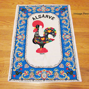 Vintage Portugal Rooster Tea / Hand Towel, Printed Cotton Linen