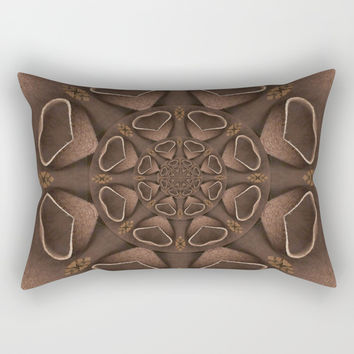 leather fantasy flower in mandala style Rectangular Pillow by Pepita Selles