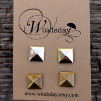 Pyramid Stud Earrings Set of Two Pairs by Windsday on Etsy