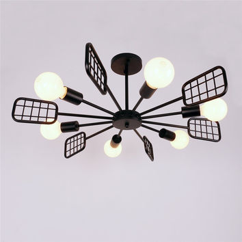 Black Vintage Metal Steel Art Semi Flush Mount Ceiling Light with 6 E26 Bulb Sockets 360W Painted Finish