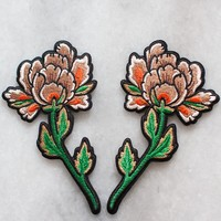 Peonies Iron-On Patch Set